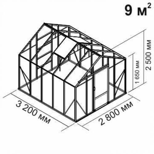 Алюминиевая теплица Botanik Standart 9 м²